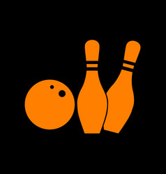 bowling sign orange icon on black vector image