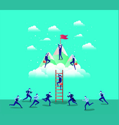 Business people in mountains with flag with stair vector