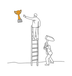 businessman using hammer to hit the ladder vector image