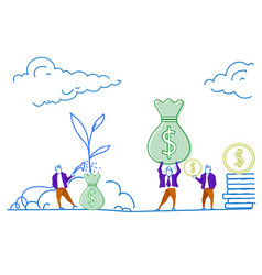 businessman watering money bag plant business vector image