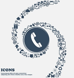 Call icon in the center Around the many beautiful vector image
