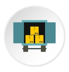 Cargo truck with load icon flat style vector image