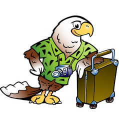 cartoon a traveling tourist eagle bird vector image