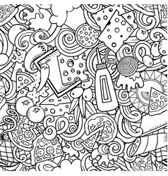 cartoon cute doodles hand drawn pizza seamless vector image