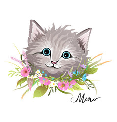 cat or kitten head with flowers animal design vector image