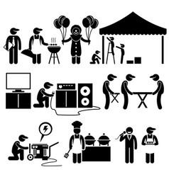 Celebration party festival event services stick vector