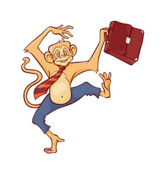 cheerful and smiling monkey in business pants and vector image