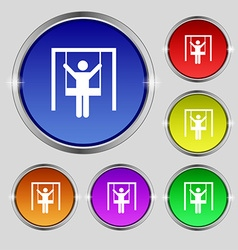 child swinging icon sign Round symbol on bright vector image