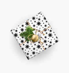 christmas gift box top view realistic vector image