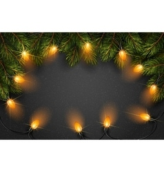 Christmas light with fir branches vector
