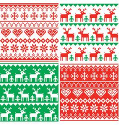 Christmas pattern set winter design vector