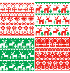 Christmas patttern set winter design vector