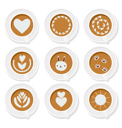 coffee latte art basic collection flat style eps10 vector image