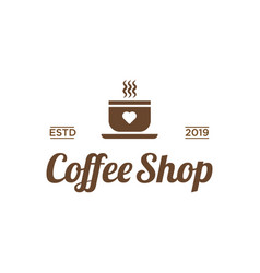 coffee shop with love icon logo design inspiration vector image