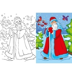 Coloring Book Of Father Frost Walking In Forest vector image