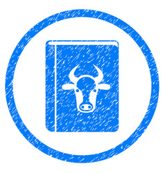 Cow book rounded grainy icon vector