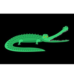 Crocodile isolated Good caiman Wild animal Green vector image