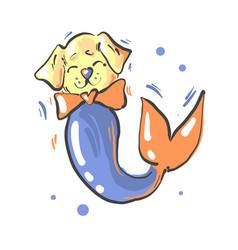 cute dog with bow and mermaid fish tail fantasy vector image