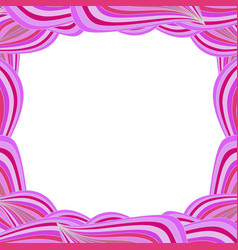 Cute vibrant border with pink curly lines and vector
