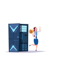 data storage bitcoin center with hosting servers vector image