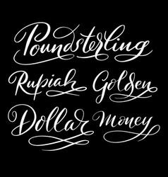 Dollar money hand written typography vector