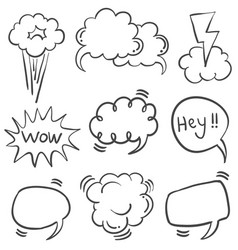 Doodle of speech bubble hand draw style vector
