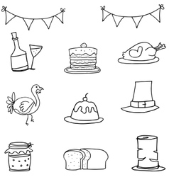 Doodle of thanksgiving with hand draw vector