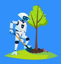 eco robot plants a green tree isolated vector image