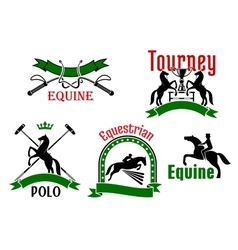 Equestrian tournament polo or equine club symbol vector image