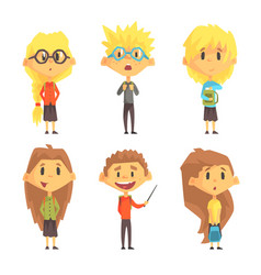 Flat set of funny school children kids vector