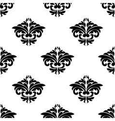 Floral motifs in a repeat seamless damask pattern vector