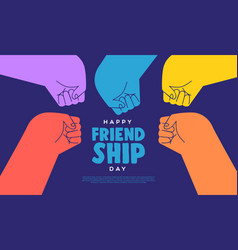 friendship day web template color fist bump hands vector image