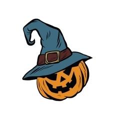 Funny Halloween pumpkin hat pilgrim vector image