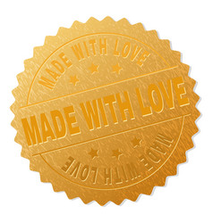 Gold made with love medallion stamp vector