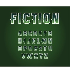 Green 80s retro sci-fi font set with stars inside vector