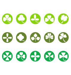 Green clover round button icons set vector
