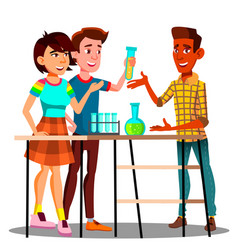 Group of students standing at table with flasks vector