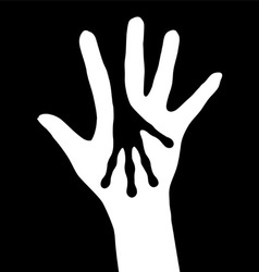 human and alien hands silhouette on white vector image