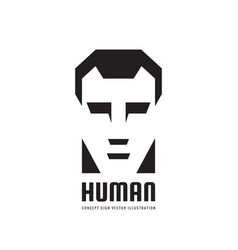 human character head logo concept vector image