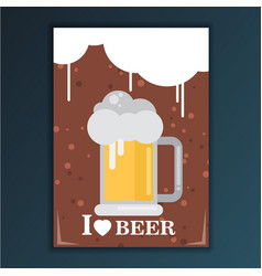 I love beer flat design style vector