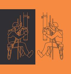 Industrial climber in uniform and helmet mends vector