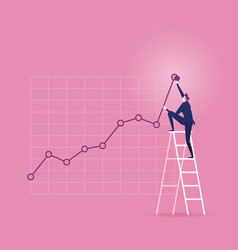 Investor businessman climbing up on a ladder vector