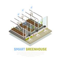 Isometric smart hothouse background vector