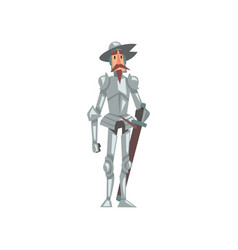 Knight in armor suit and hat with sword medieval vector
