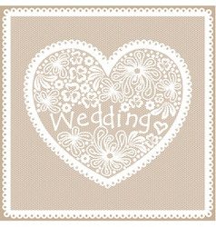 Lacy heart with Wedding inscription vector