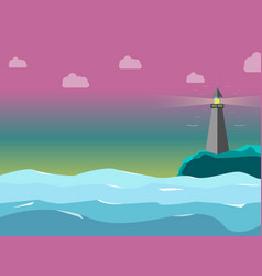 light house in the sea with the sweetly sky color vector image