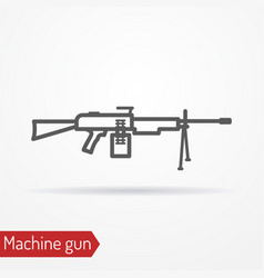 Machine gun line icon vector