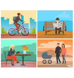 Man riding bicycle couple with perambulator in vector