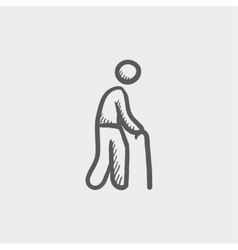 Man with cane sketch icon vector image