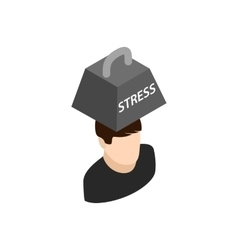 Man with weight of stress icon isometric 3d style vector image